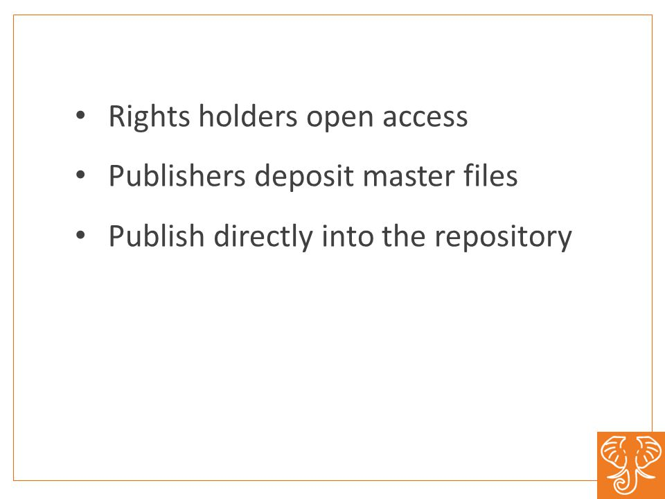 Rights holders open access Publishers deposit master files Publish directly into the repository