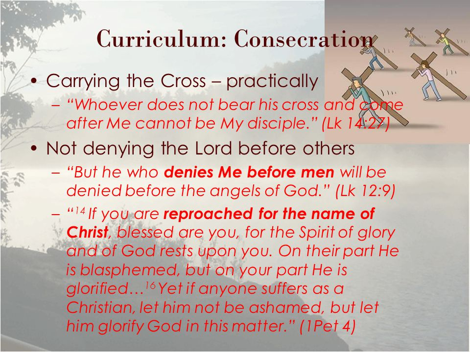 Curriculum: Consecration Carrying the Cross – practically – Whoever does not bear his cross and come after Me cannot be My disciple. (Lk 14:27) Not denying the Lord before others – But he who denies Me before men will be denied before the angels of God. (Lk 12:9) – 14 If you are reproached for the name of Christ, blessed are you, for the Spirit of glory and of God rests upon you.
