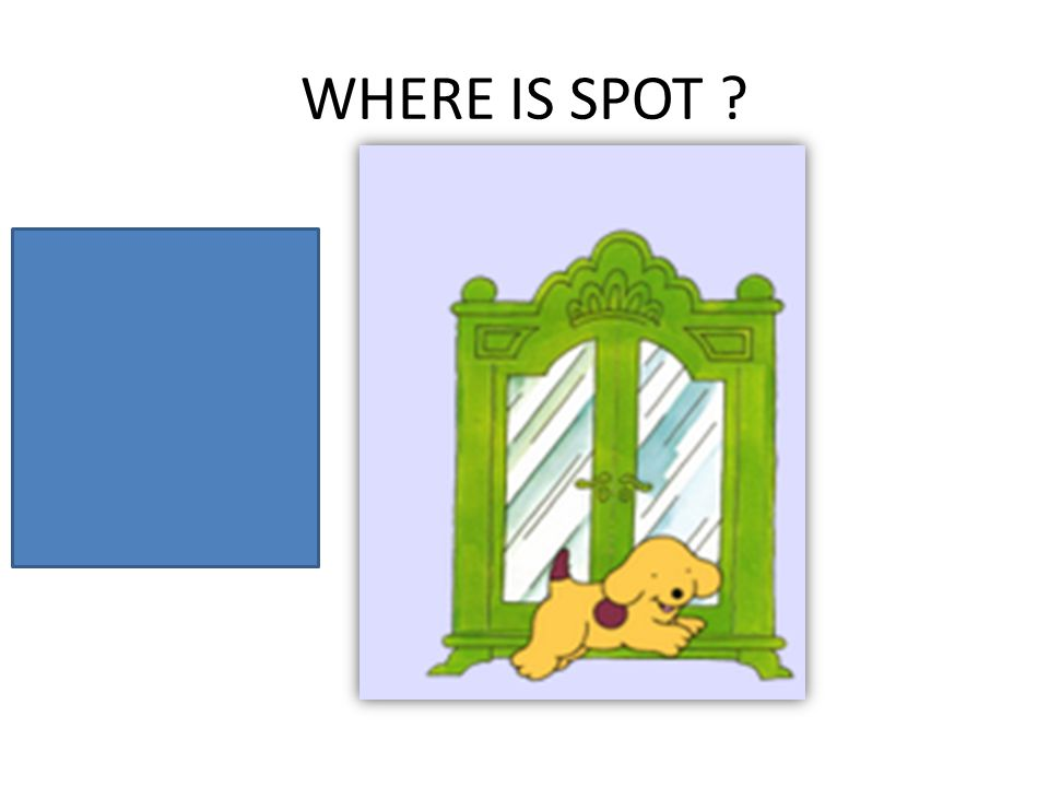 WHERE IS SPOT ? Spot is in front of the wardrobe.