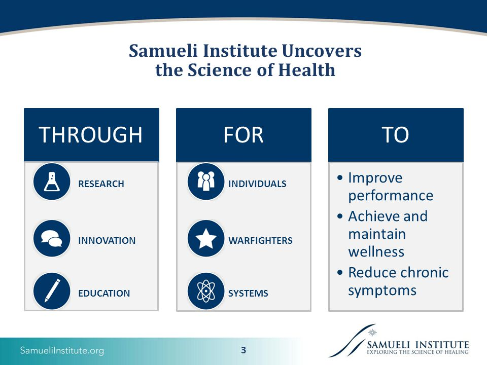 3 Samueli Institute Uncovers the Science of Health RESEARCH INNOVATION EDUCATION INDIVIDUALS WARFIGHTERS SYSTEMS