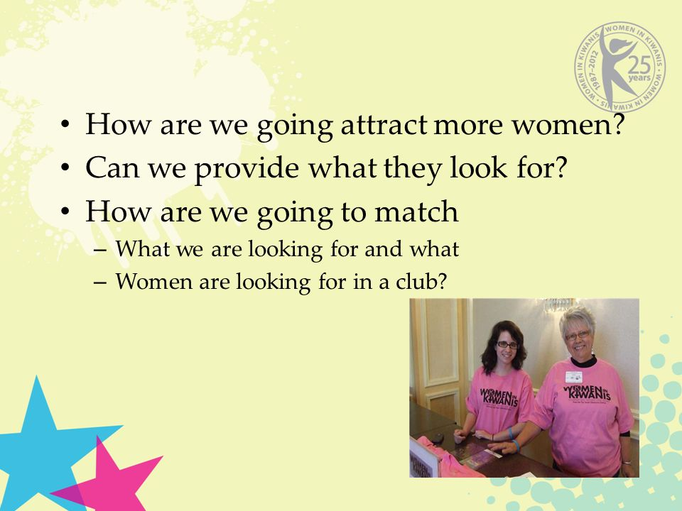 How are we going attract more women? Can we provide what they look for? How are we going to match – What we are looking for and what – Women are looki