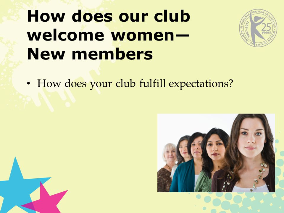 How does our club welcome women— New members How does your club fulfill expectations?