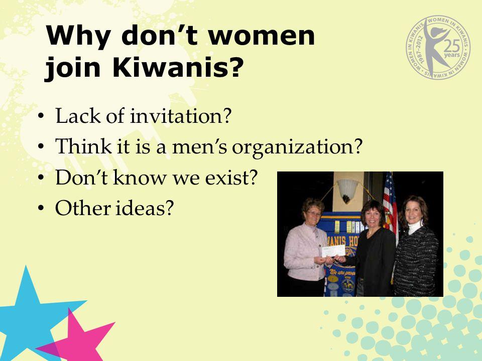 Lack of invitation. Think it is a men's organization.