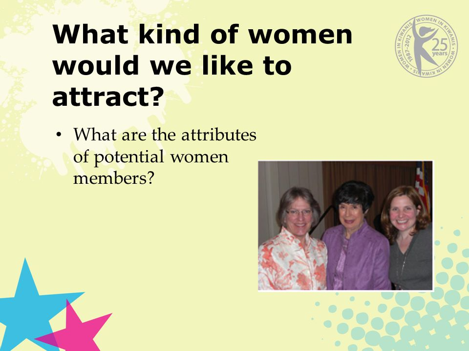 What kind of women would we like to attract What are the attributes of potential women members