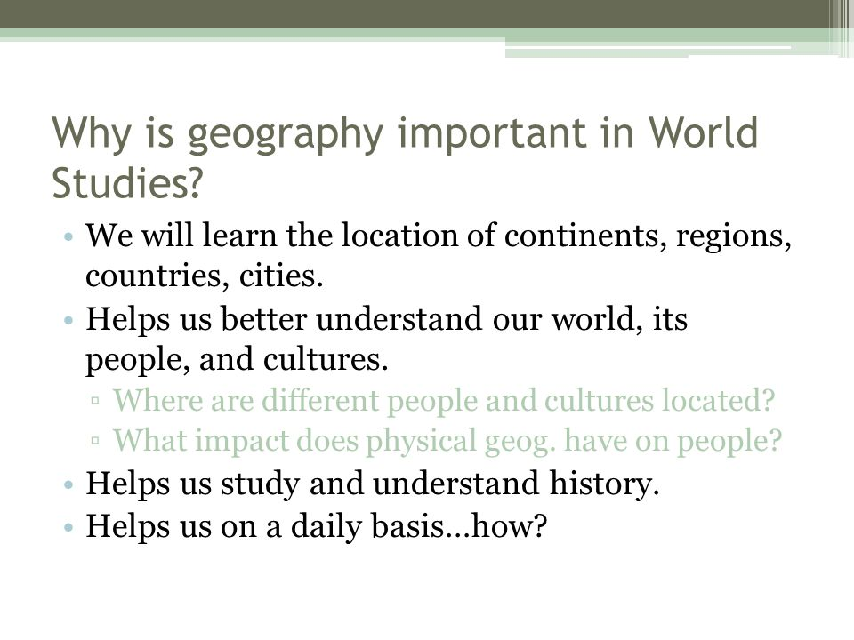 Why is it important to study?