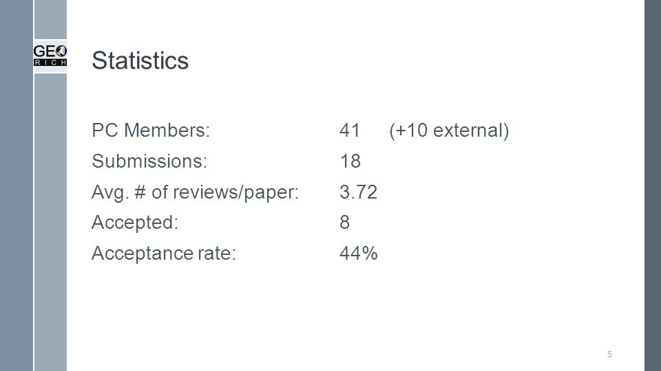 Statistics PC Members:41(+10 external) Submissions:18 Avg.