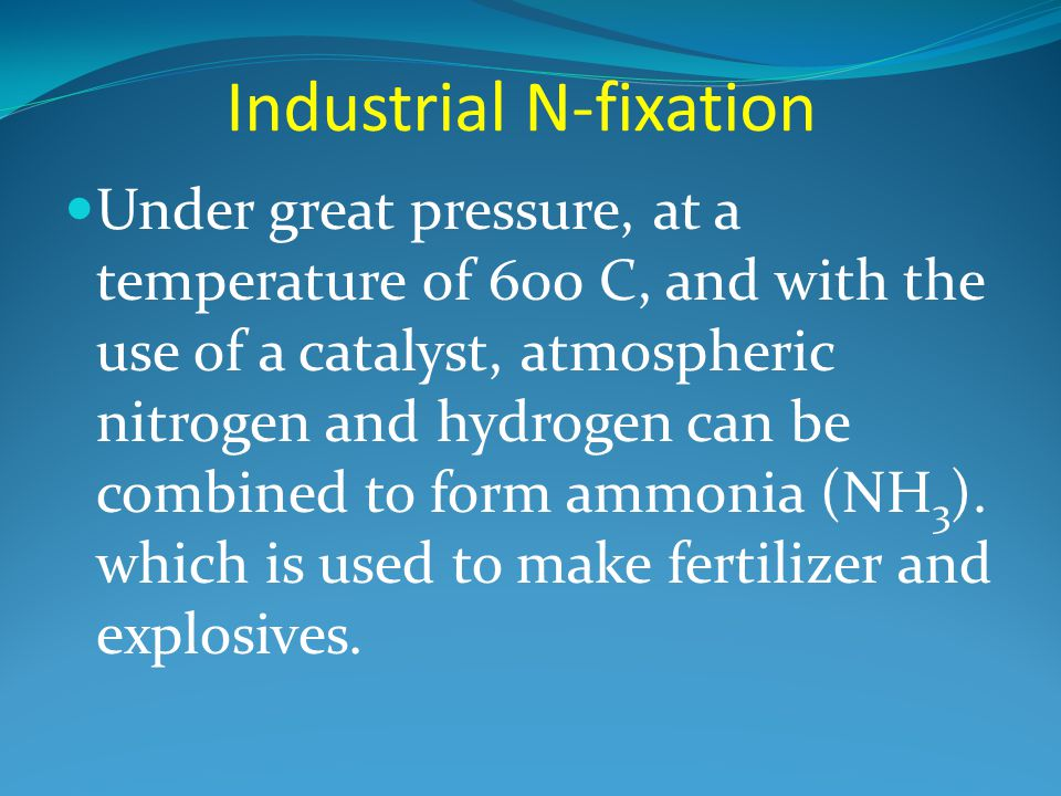 Industrial N-fixation Under great pressure, at a temperature of 600 C, and with the use of a catalyst, atmospheric nitrogen and hydrogen can be combined to form ammonia (NH 3 ).