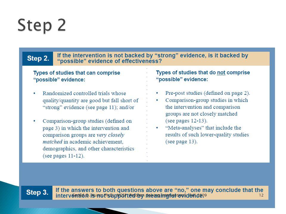12Gerald D. Nunn, Ph.D., NCSP: Problem Solving Interventions: Fall 2009