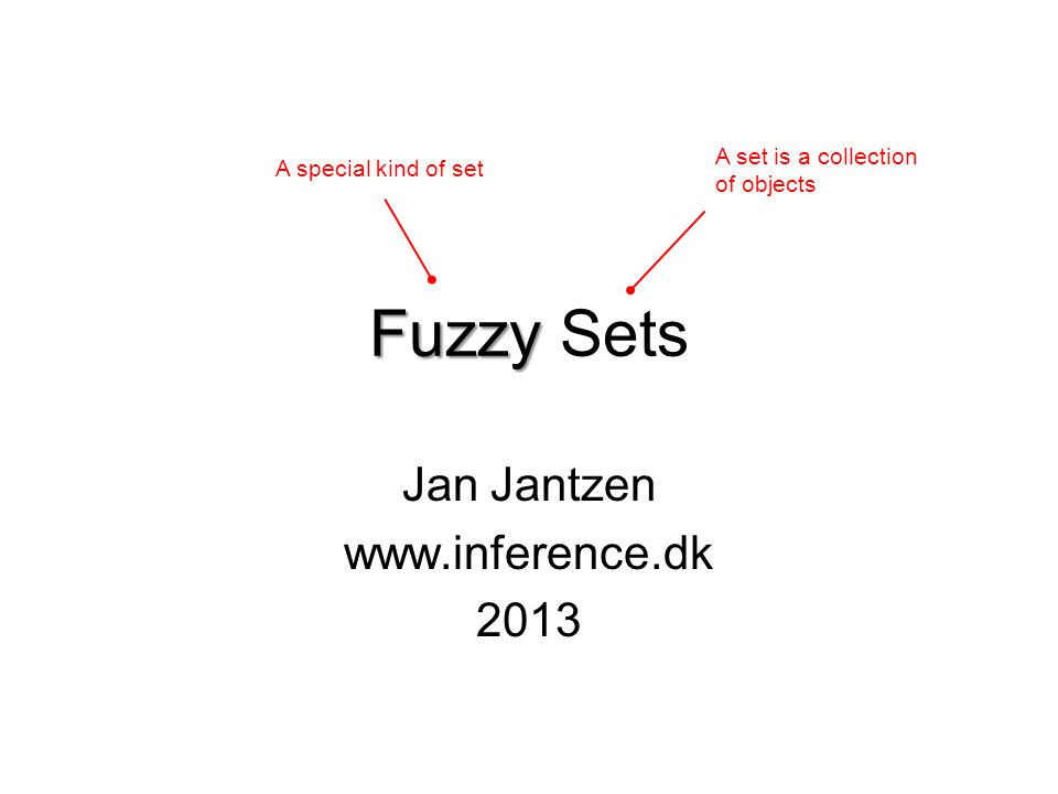 Fuzzy Fuzzy Sets Jan Jantzen www.inference.dk 2013 A set is a collection of objects A special kind of set