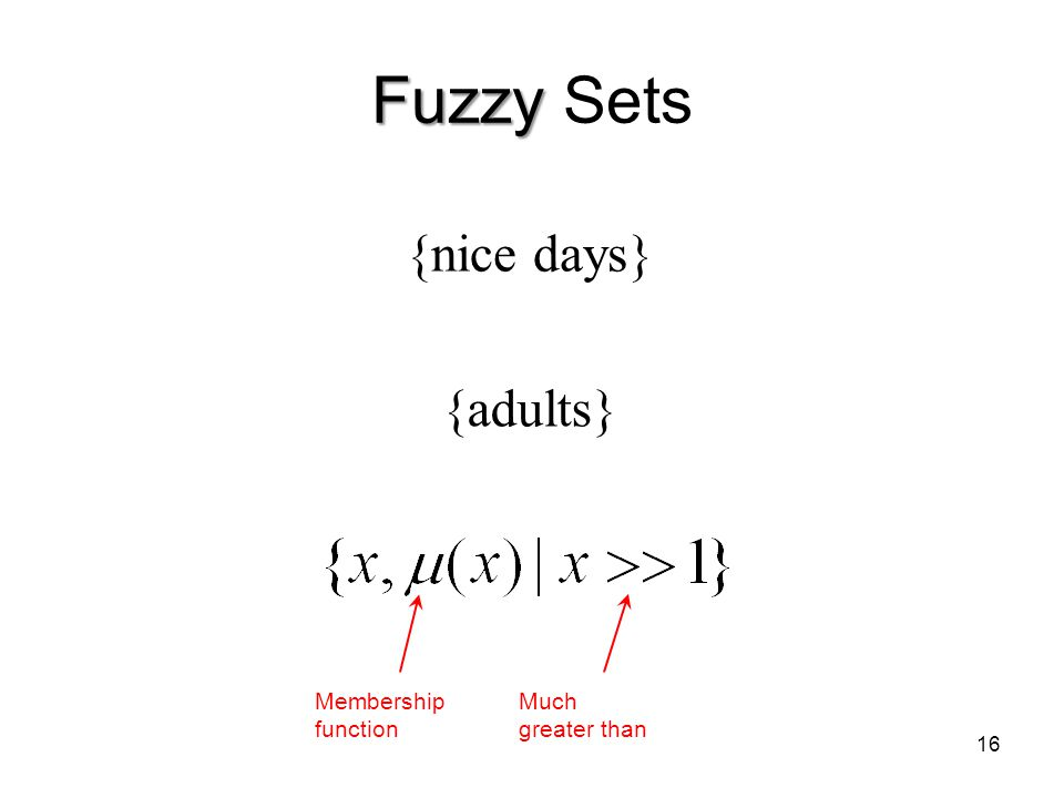 16 Fuzzy Fuzzy Sets {nice days} {adults} Membership function Much greater than