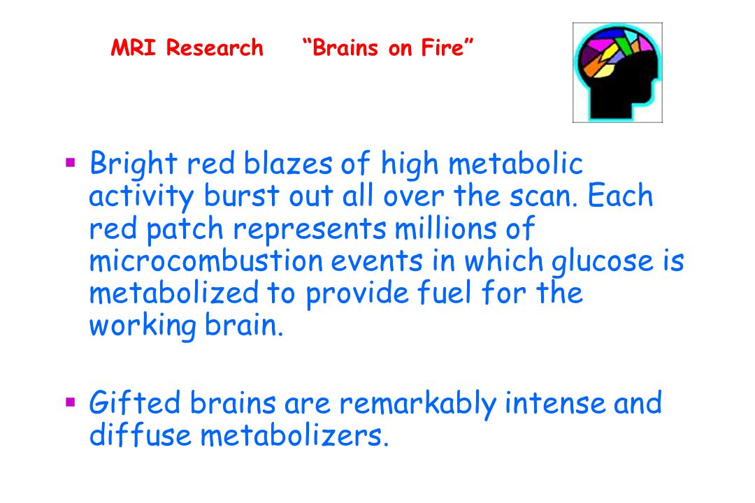 MRI Research Brains on Fire  Bright red blazes of high metabolic activity burst out all over the scan.