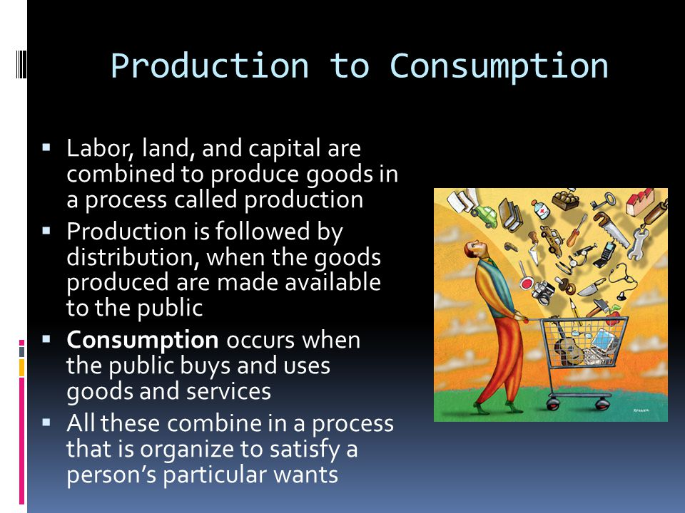 Production to Consumption  Labor, land, and capital are combined to produce goods in a process called production  Production is followed by distribu