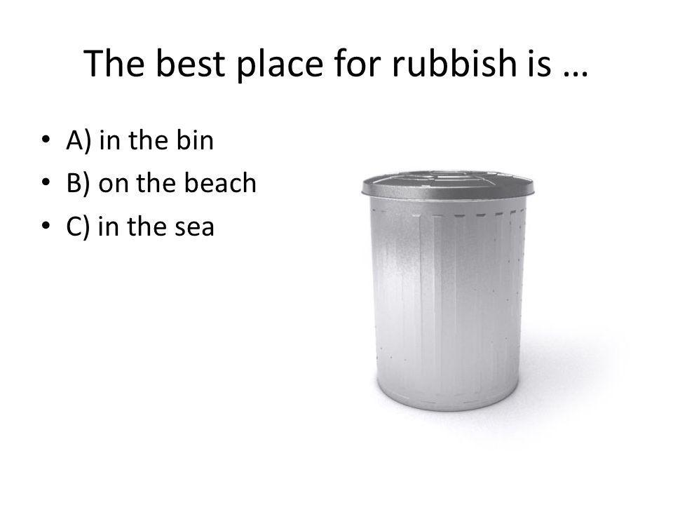 The best place for rubbish is … A) in the bin B) on the beach C) in the sea
