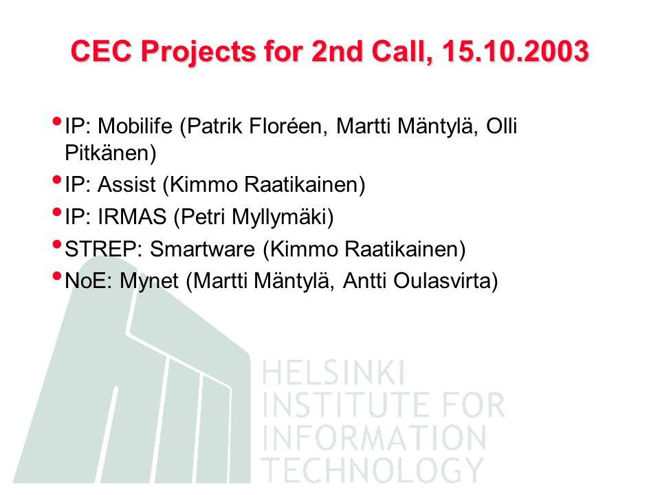 CEC Projects for 2nd Call, 15.10.2003 IP: Mobilife (Patrik Floréen, Martti Mäntylä, Olli Pitkänen) IP: Assist (Kimmo Raatikainen) IP: IRMAS (Petri Myllymäki) STREP: Smartware (Kimmo Raatikainen) NoE: Mynet (Martti Mäntylä, Antti Oulasvirta)