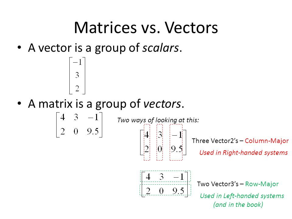 Matrices vs. Vectors A vector is a group of scalars.