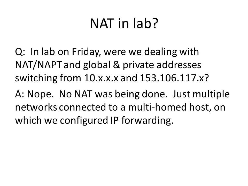 NAT in lab.