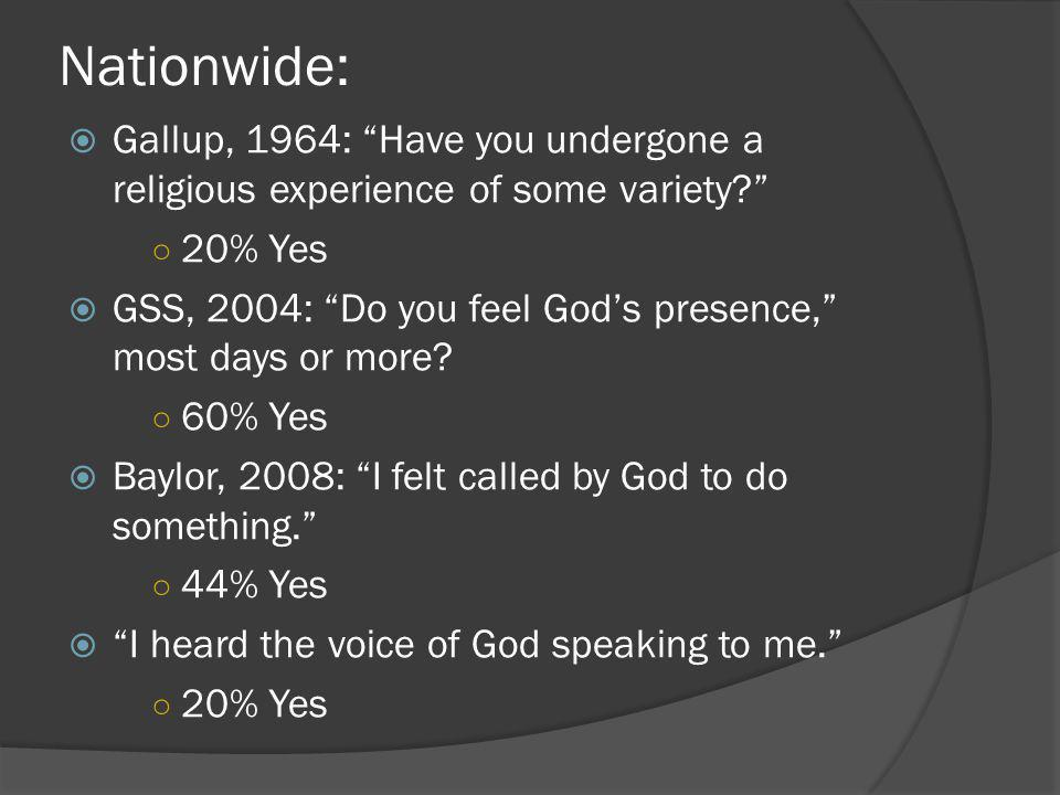 "Nationwide:  Gallup, 1964: ""Have you undergone a religious experience of some variety?"" ○ 20% Yes  GSS, 2004: ""Do you feel God's presence,"" most day"
