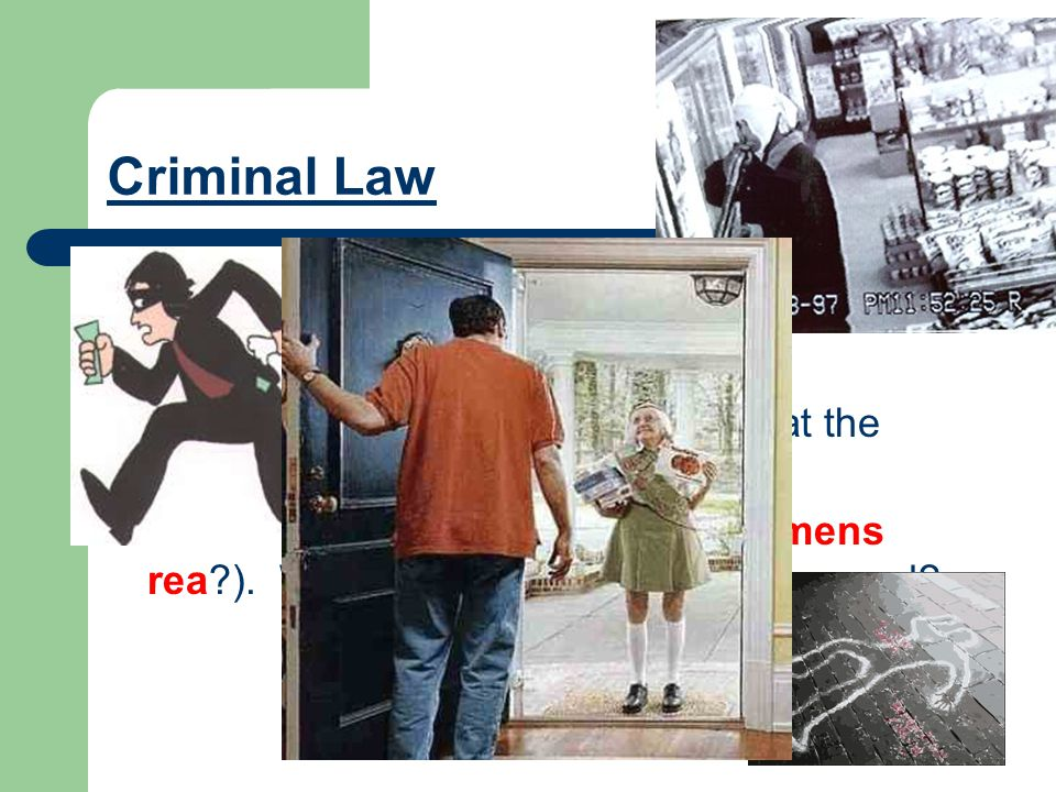 Criminal Law This regulates how people act in society. It deals with crime and punishment. To understand this, one must look at the elements that make