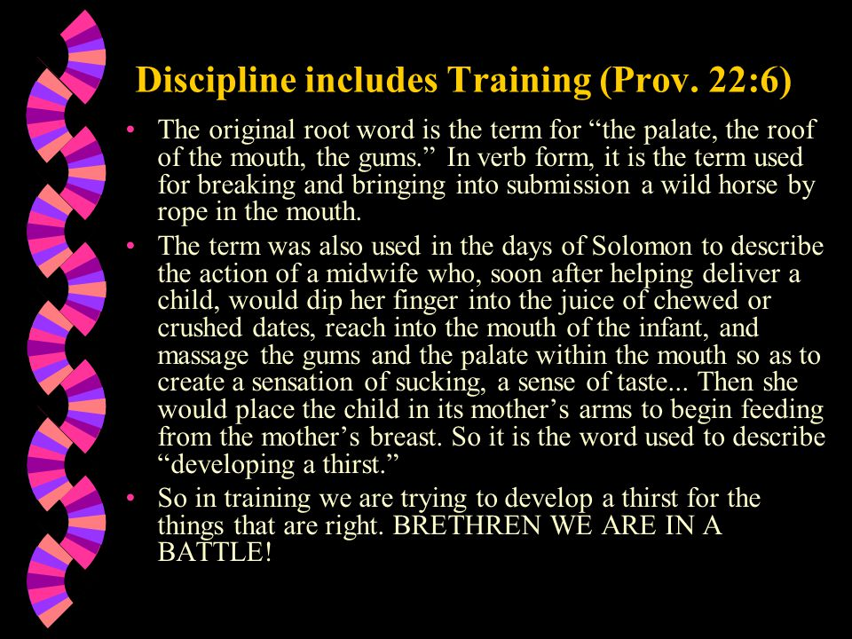 """Discipline includes Training (Prov. 22:6) The original root word is the term for """"the palate, the roof of the mouth, the gums."""" In verb form, it is th"""
