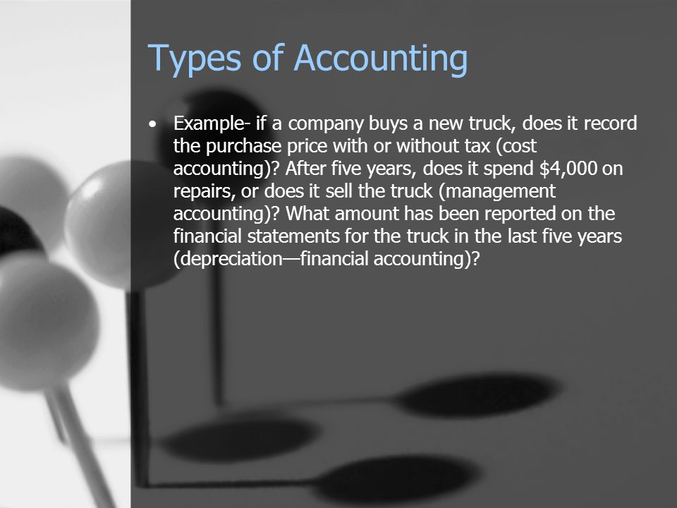 Types of Accounting Example- if a company buys a new truck, does it record the purchase price with or without tax (cost accounting).