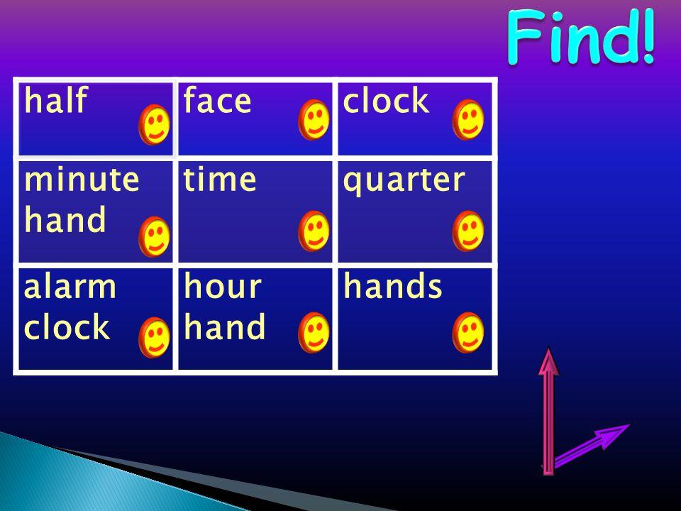 halffaceclock minute hand timequarter alarm clock hour hand hands