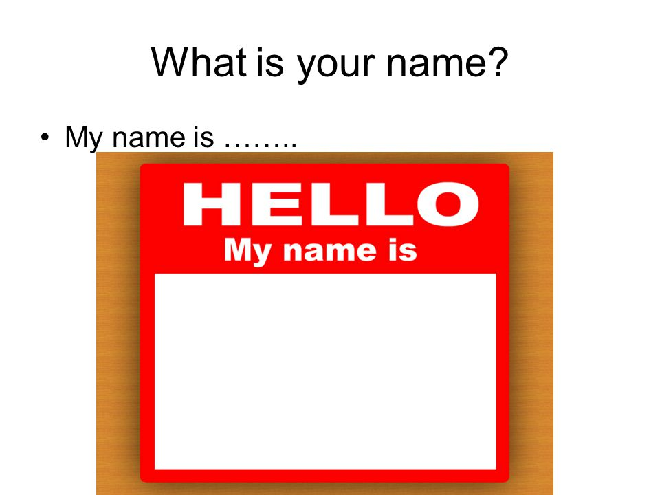 What is your name My name is ……..