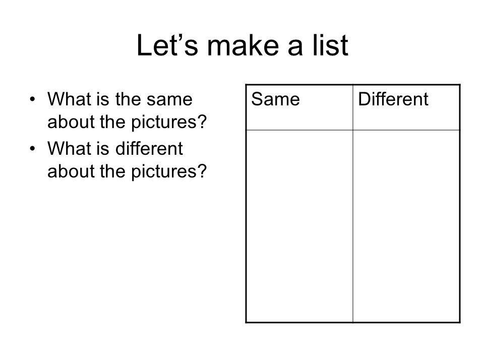 Let's make a list What is the same about the pictures.