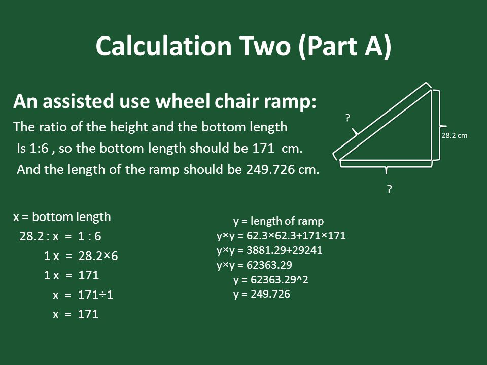Calculation Two (Part A) An assisted use wheel chair ramp: The ratio of the height and the bottom length Is 1:6, so the bottom length should be 171 cm.