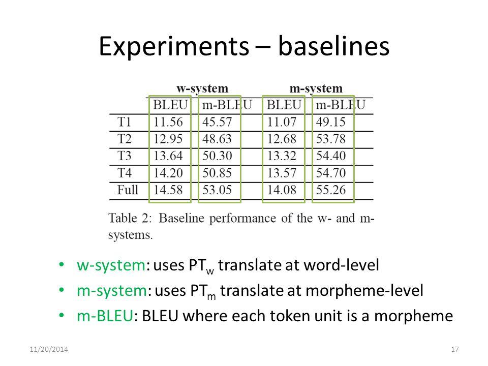 Experiments – baselines w-system: uses PT w translate at word-level m-system: uses PT m translate at morpheme-level m-BLEU: BLEU where each token unit is a morpheme 11/20/201417
