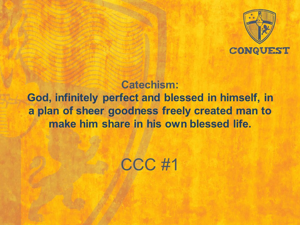 Catechism: God, infinitely perfect and blessed in himself, in a plan of sheer goodness freely created man to make him share in his own blessed life. C