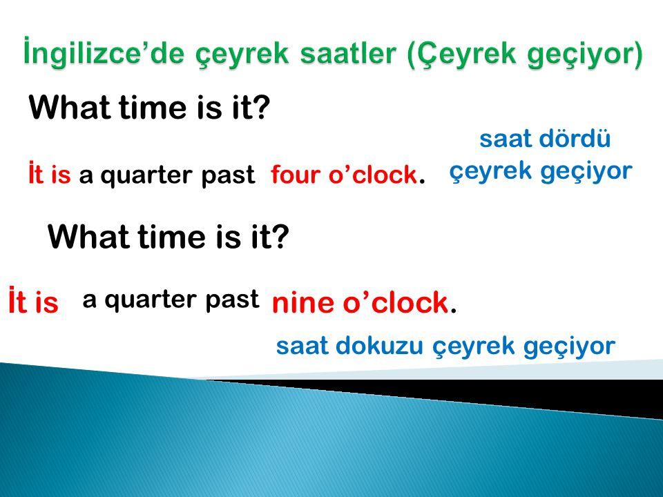 What time is it.İ t is eight o'clock. saat sekize çeyrek var What time is it.