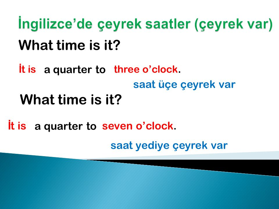 What time is it. İ t is three o'clock. saat üçe çeyrek var What time is it.