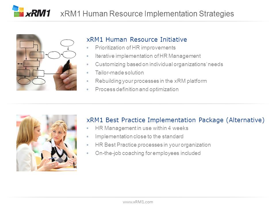www.xRM1.com xRM1 Best Practice Implementation Package (Alternative) ▫ HR Management in use within 4 weeks ▫ Implementation close to the standard ▫ HR Best Practice processes in your organization ▫ On-the-job coaching for employees included xRM1 Human Resource Implementation Strategies xRM1 Human Resource Initiative ▫ Prioritization of HR improvements ▫ Iterative implementation of HR Management ▫ Customizing based on individual organizations' needs ▫ Tailor-made solution ▫ Rebuilding your processes in the xRM platform ▫ Process definition and optimization