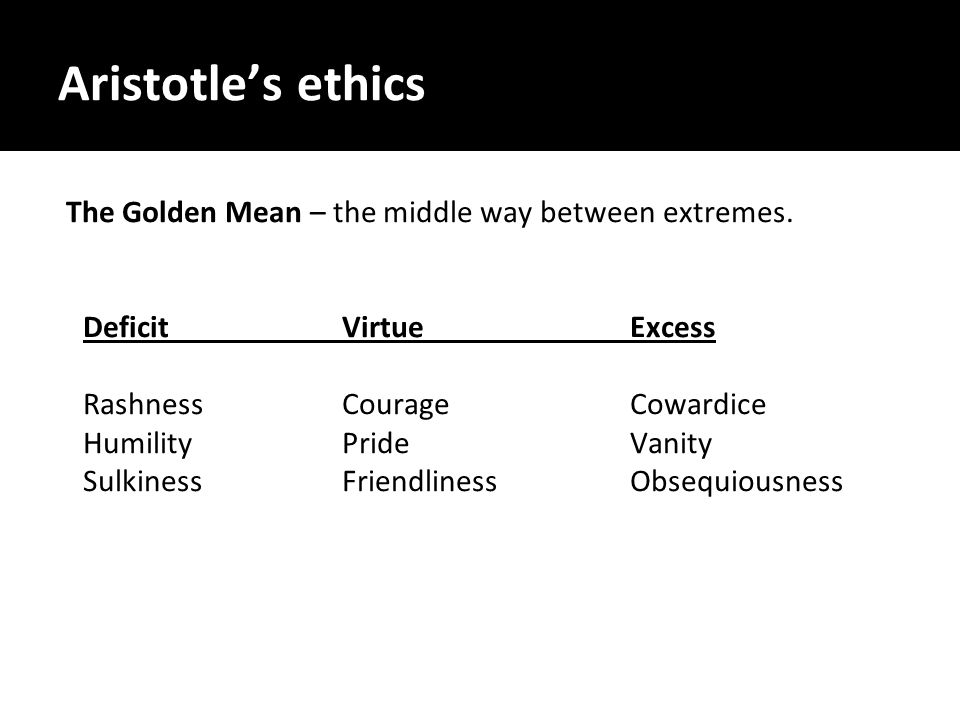 Aristotle's ethics The Golden Mean – the middle way between extremes.