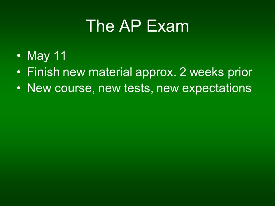 The AP Exam May 11 Finish new material approx.