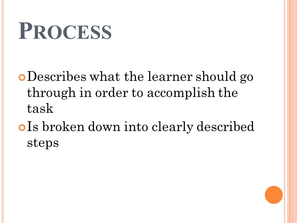 P ROCESS Describes what the learner should go through in order to accomplish the task Is broken down into clearly described steps