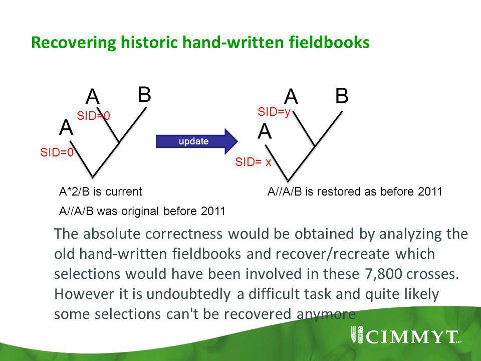 Recovering historic hand-written fieldbooks update A B A A*2/B is current A B A The absolute correctness would be obtained by analyzing the old hand-written fieldbooks and recover/recreate which selections would have been involved in these 7,800 crosses.