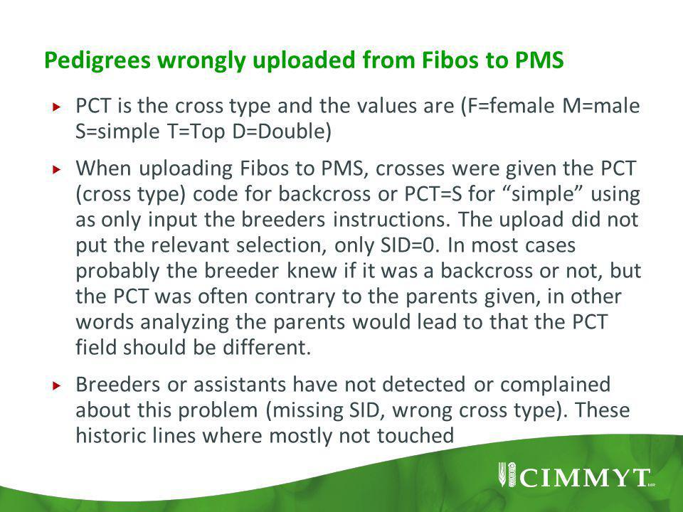 Pedigrees wrongly uploaded from Fibos to PMS  PCT is the cross type and the values are (F=female M=male S=simple T=Top D=Double)  When uploading Fib