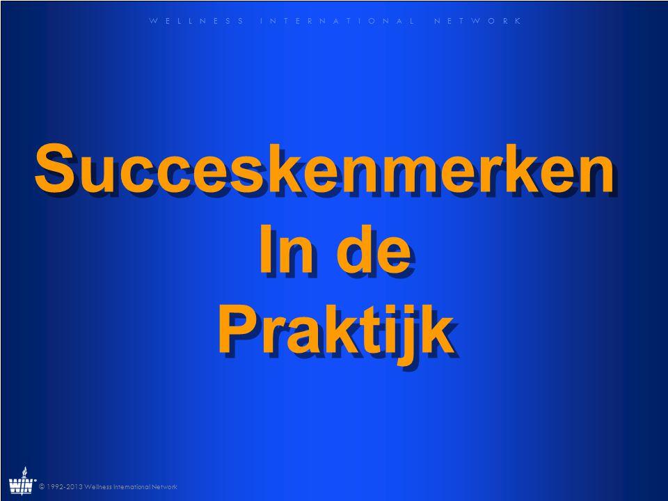 W E L L N E S S I N T E R N A T I O N A L N E T W O R K ® © 1992-2013 Wellness International Network Succeskenmerken In de Praktijk Succeskenmerken In de Praktijk
