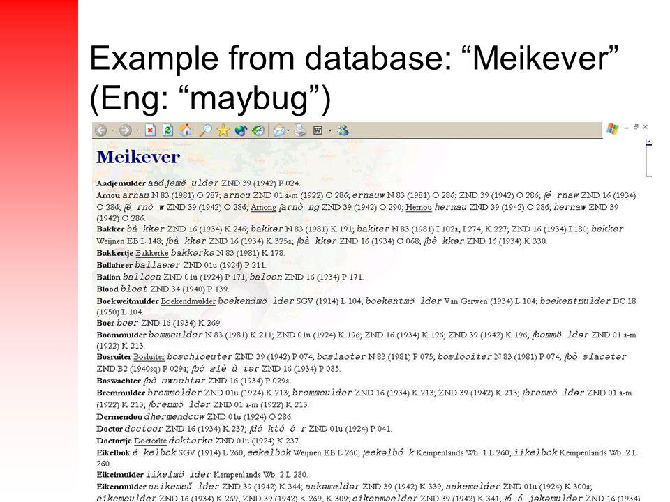 Example from database: Meikever (Eng: maybug )