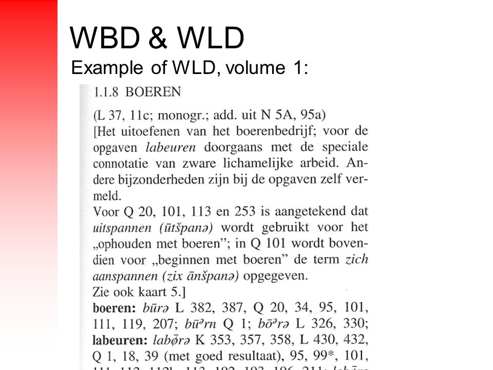 WBD & WLD Example of WLD, volume 1: