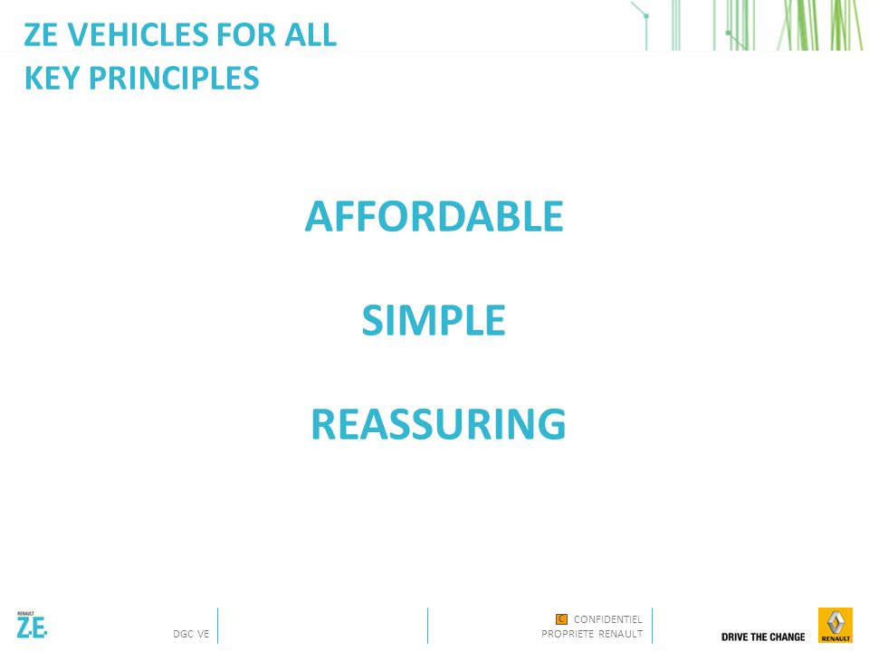 CONFIDENTIEL PROPRIETE RENAULT DGC VE C ZE VEHICLES FOR ALL KEY PRINCIPLES AFFORDABLE SIMPLE REASSURING