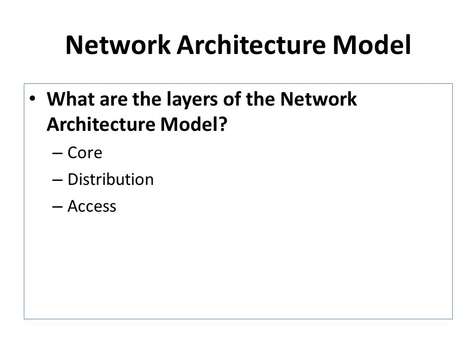Network Architecture Model What are the layers of the Network Architecture Model.