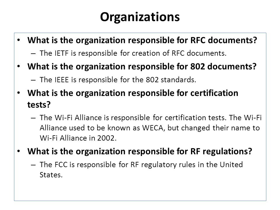 Organizations What is the organization responsible for RFC documents.