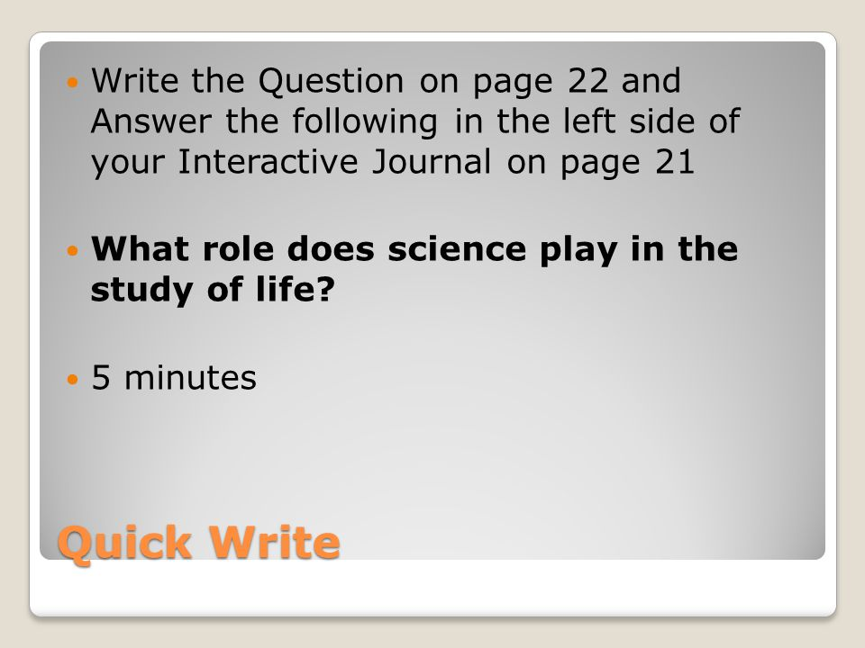 SCIENCE JOURNAL QUESTION?!?!?