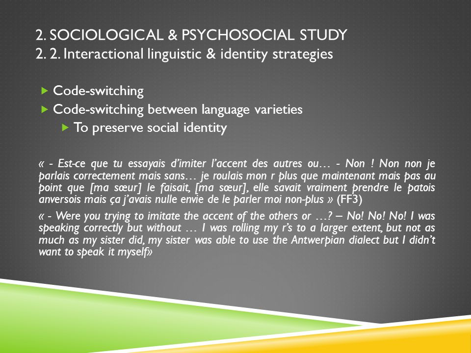 2. SOCIOLOGICAL & PSYCHOSOCIAL STUDY 2. 2.