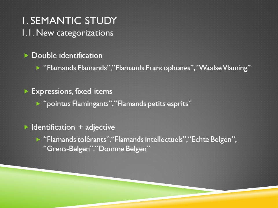 1. SEMANTIC STUDY 1.1.