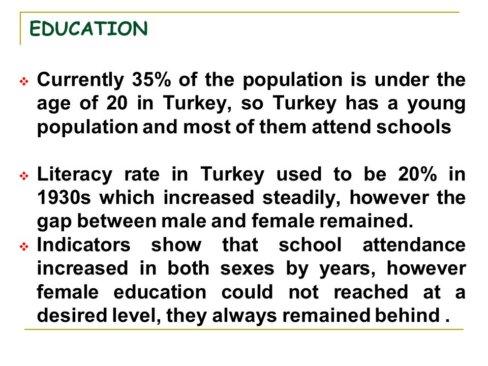 EDUCATION  Currently 35% of the population is under the age of 20 in Turkey, so Turkey has a young population and most of them attend schools  Liter