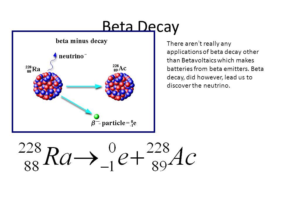 Beta Decay There aren ' t really any applications of beta decay other than Betavoltaics which makes batteries from beta emitters.