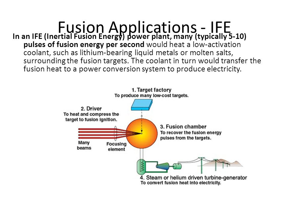Fusion Applications - IFE In an IFE (Inertial Fusion Energy) power plant, many (typically 5-10) pulses of fusion energy per second would heat a low-activation coolant, such as lithium-bearing liquid metals or molten salts, surrounding the fusion targets.